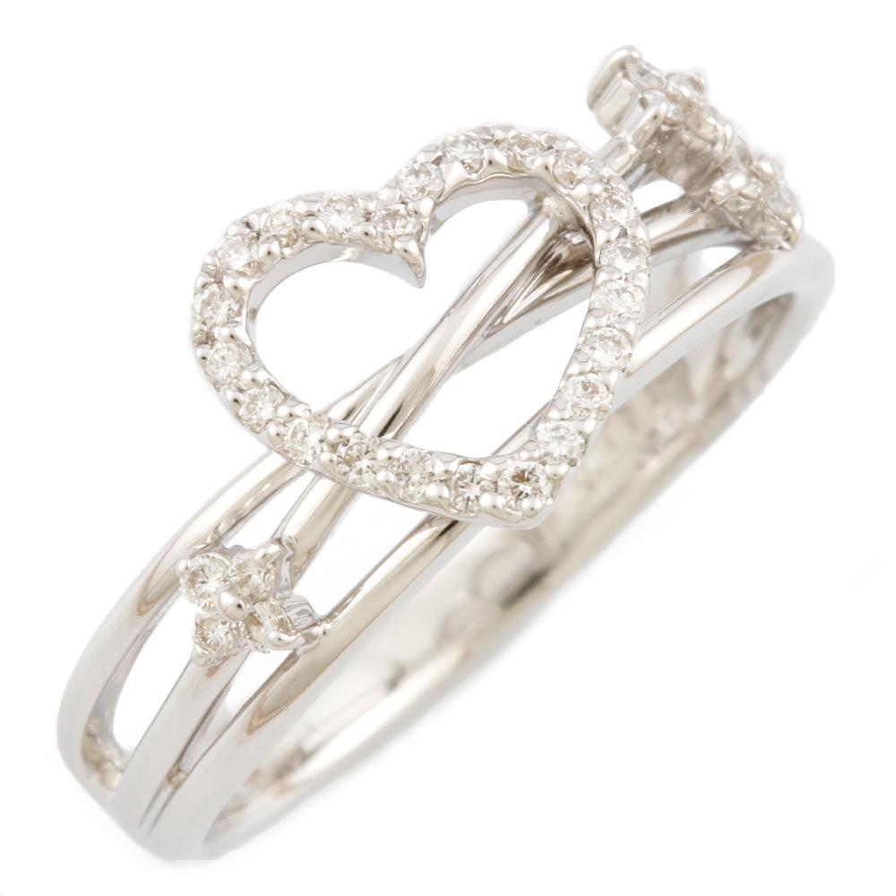 【送料無料】【中古】 Ponte Vecchio ポンテヴェキオ K18WG リング 指輪 ハート ダイヤモンド 12号 18金 K18ホワイトゴールド レディース メンズ おしゃれ かわいい ギフト プレゼント