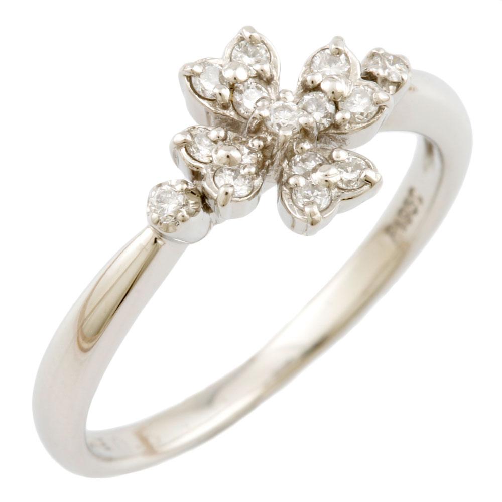 【送料無料】【中古】 VENDOME ヴァンドーム Pt950 リング 指輪 10号 ダイヤモンド 0.15ct フラワー 花 ハート レディース おしゃれ かわいい おすすめ ギフト プレゼント Pt950プラチナ