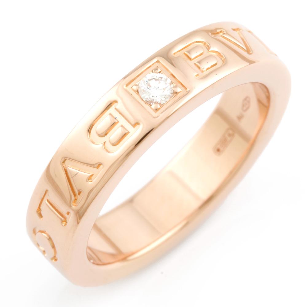 【送料無料】【中古】 BVLGARI ブルガリ K18PG リング 指輪 ダイヤモンド ブルガリブルガリ ダブルロゴ 7.5号 レディース おしゃれ かわいい おすすめ ギフト プレゼント 18金 K18ピンクゴールド