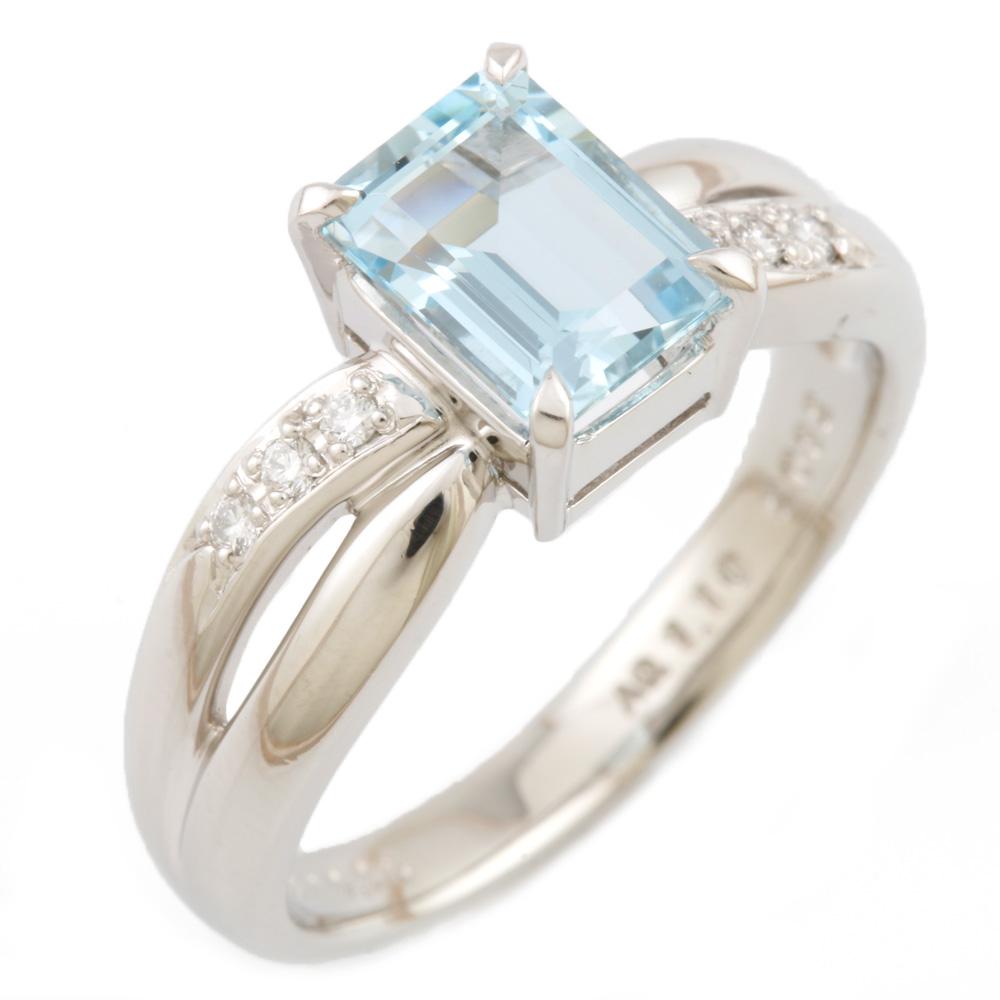 【送料無料】【中古】 POLA ポーラ Pt900 リング 指輪 アクアマリン 1.10CT ダイヤモンド 0.06CT 16号 レディース おしゃれ かわいい おすすめ ギフト プレゼント Pt900プラチナ