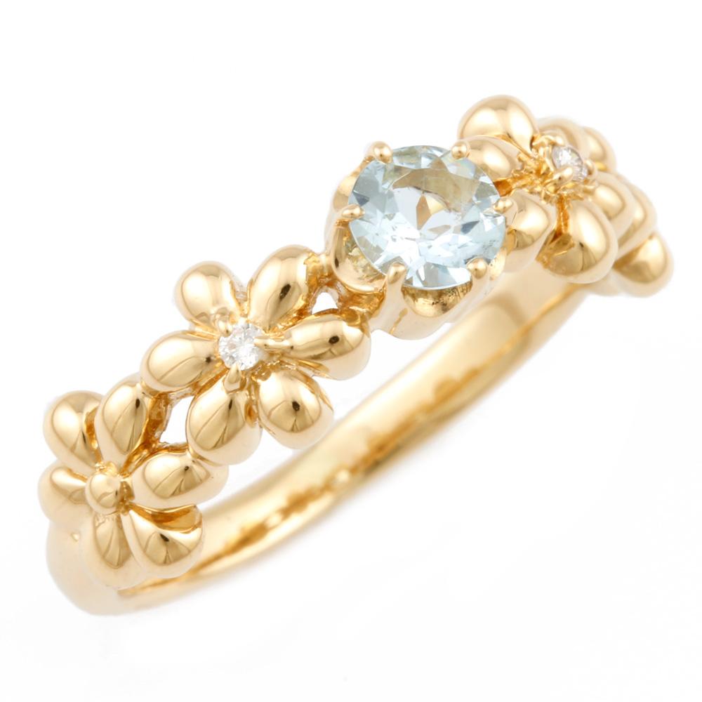 【送料無料】【中古】 VENDOME ヴァンドーム K18 リング 指輪 アクアマリン ダイヤモンド フラワー 花 6号 レディース おしゃれ かわいい おすすめ ギフト プレゼント 18金 K18ゴールド