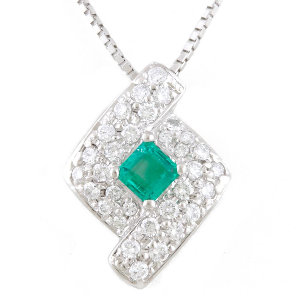 【送料無料】【中古】 Pt900 Pt850 ネックレス エメラルド 0.16CT ダイヤモンド 0.25CT パヴェ レディース おしゃれ かわいい おすすめ ギフト プレゼント Pt900プラチナ