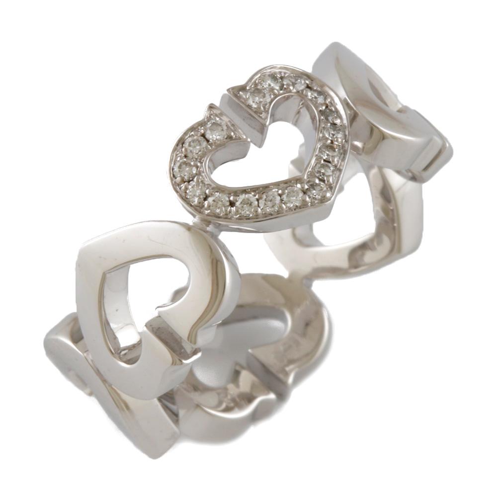 【送料無料】【中古】 シルバー CARTIER カルティエ おしゃれ K18WG ダイヤモンド かわいい リング おすすめ #49 18金 9号 指輪 ギフト Cハート レディース プレゼント K18ホワイトゴールド【BJ】