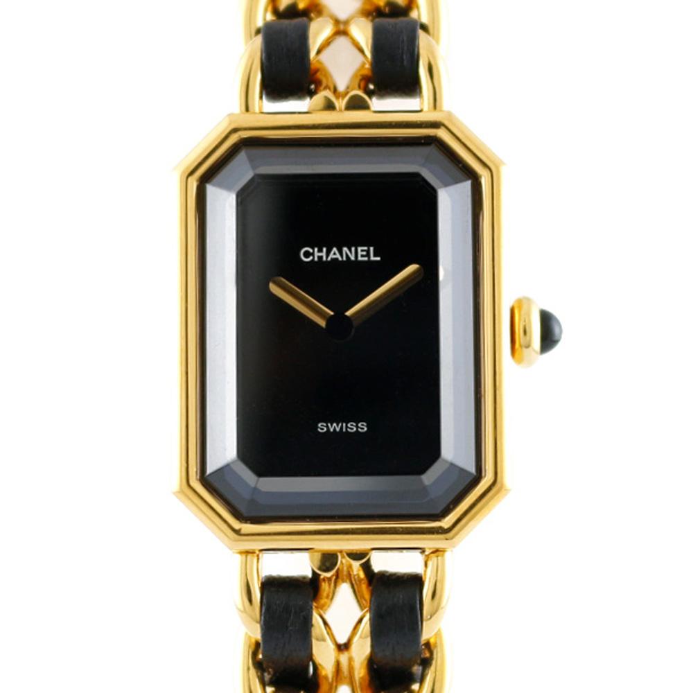 ブランド品 迅速な対応で商品をお届け致します シャネルの 腕時計 送料無料 中古 CHANEL シャネル GP エレガント ブレスレット プルミエール L プレゼント レディース 永遠の定番モデル かわいい BIM ギフト ブラック おすすめ ゴールド おしゃれ レザー SH