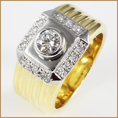 【送料無料】【中古】K18/PT900 ダイヤ メンズ リング D0.37/0.17 18金 プラチナ男性 かっこいい 指輪 価格見直し3005