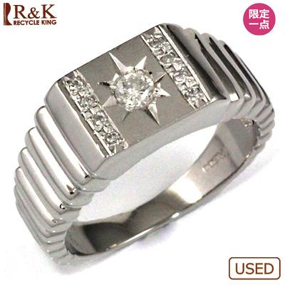 【送料無料】【中古】PT900 ダイヤ メンズ リング D0.17/D0.05 男性 かっこいい 指輪 価格見直し3005