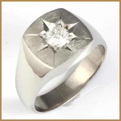 【送料無料】【中古】PT900 ダイヤメンズ リング D0.49 プラチナ男性 かっこいい 指輪 価格見直し0711