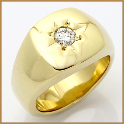 【送料無料】【中古】K18 ダイヤ メンズ リング D0.32 18金男性 かっこいい 指輪 価格見直し3005
