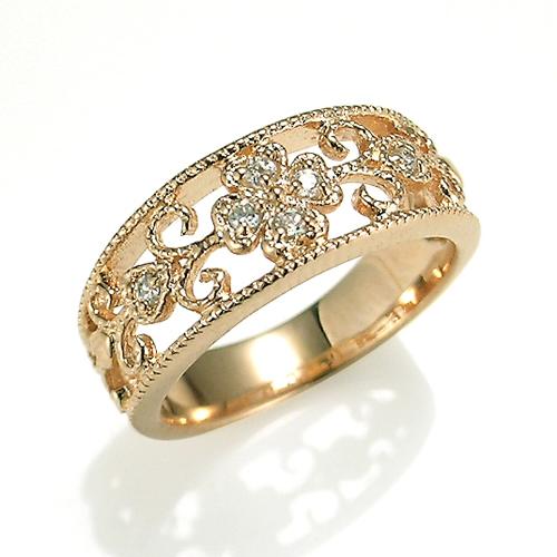 【送料無料】【新品】K10PG ダイヤモンド リング クラシカル フラワー ピンキーリング 指輪 リング 10金 ファランジリング おしゃれ レディース 女性 かわいい オシャレ 透かし 繊細 幅広 ボリューム ギフト プレゼント