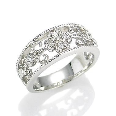 【送料無料】【新品】K10WG ダイヤクラシカルフラワーピンキーリング 指輪 10金 ファランジリング  おしゃれ レディース 女性 かわいい 可愛い オシャレ