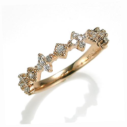 【送料無料】【新品】K10PG ダイヤモンド クラシカルライン ピンキーリング 指輪 リング 10金 ファランジ おしゃれ レディース 女性 かわいい アクセサリー 華奢 重ねづけ ギフト プレゼント 誕生日 母の日