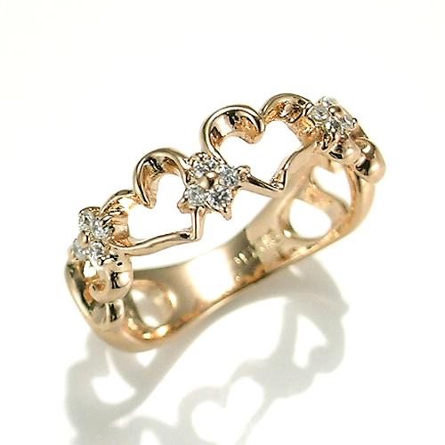 【送料無料】【新品】K10PG ダイヤプチハートピンキーリング 指輪 10金 ファランジリング  おしゃれ レディース 女性 かわいい 可愛い オシャレ