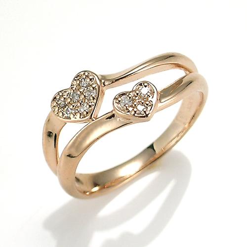 【送料無料】【新品】K10PG ダイヤモンド ツイン ハート ピンキーリング 指輪 10金 ファランジ おしゃれ レディース 女性 かわいい 可愛い オシャレ アクセ アクセサリー ピンクゴールド ギフトプレゼント 誕生日 リング