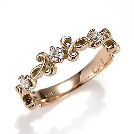 【送料無料】【新品】K10PGダイヤクラシカルピンキーリング 指輪 10金 ファランジリング  おしゃれ レディース 女性 かわいい 可愛い オシャレ