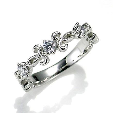 【送料無料】【新品】K10WGダイヤクラシカルピンキーリング 指輪 10金 ファランジリング  おしゃれ レディース 女性 かわいい 可愛い オシャレ