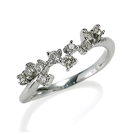 【送料無料】【新品】K10WG ダイヤスターダストピンキーリング 指輪 D0.20 10金 ファランジリング  おしゃれ レディース 女性 かわいい 可愛い オシャレ