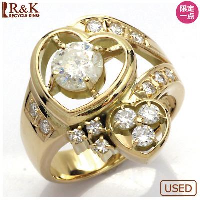 【送料無料】【中古】◎K18 ダイヤモンドリング 指輪 D1.10/D0.69 ハート 18金 おしゃれ レディース 女性 かわいい 可愛い オシャレ 価格見直し3005