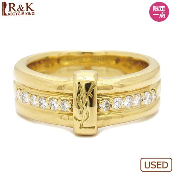 【中古】【送料無料】SAINT LAURENT リング 指輪 K18 ダイヤモンド D0.24 13号 18金 ゴールド 18K サンローラン レディース 女性 おしゃれ 可愛い アクセサリー プレゼント 【BJ】