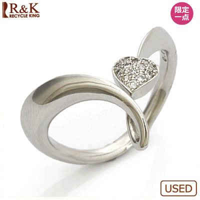 【送料無料】【中古】K18WG ダイヤモンドリング 指輪 D0.07 ハート パヴェ 18金ホワイトゴールド おしゃれ レディース 女性 かわいい 可愛い オシャレ specialprice