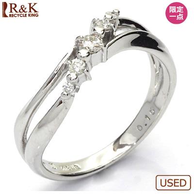【送料無料】【中古】K18WG ダイヤモンドリング 指輪 D0.10 18金 おしゃれ レディース 女性 かわいい 可愛い オシャレ specialprice