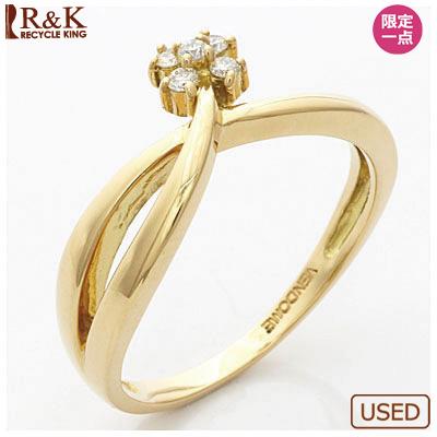 【送料無料】【中古】K18 リング 指輪 ダイヤモンド フラワー 18金おしゃれ レディース 女性 かわいい 可愛い オシャレ specialprice