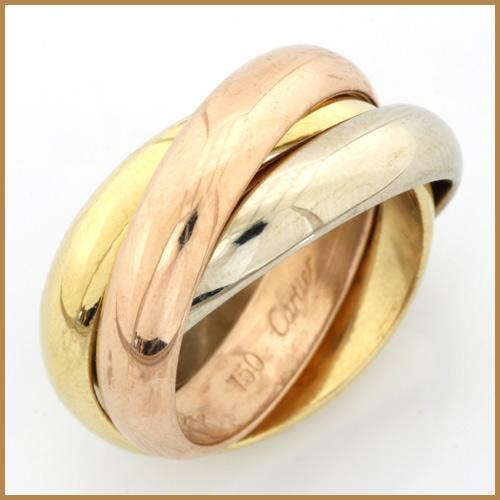 【送料無料】【中古】K18/PG/WG リング 指輪 Cartier 3連 3カラー 9号 #49 18金 ピンクゴールド ホワイトゴールド【BJ】かわいい おしゃれ レディース アクセサリー カルティエ トリニティ 価格見直し0711