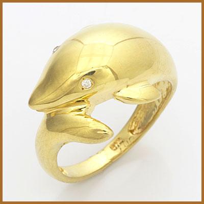 【送料無料】【中古】●K18 リング 指輪 ダイヤモンド D0.01 ドルフィン 18金 おしゃれ レディース 女性 かわいい 可愛い オシャレ 価格見直し3005