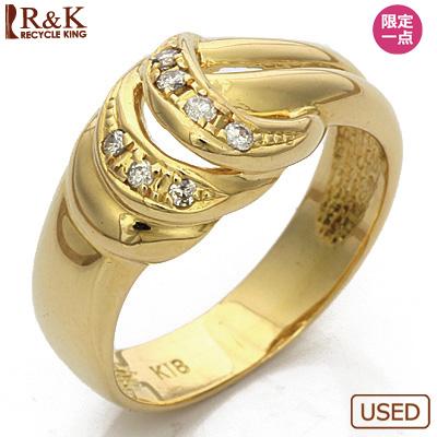 【送料無料】【中古】◎K18 リング ダイヤモンド シンプル 18金 ゴールド指輪 レディース 女性 アクセ アクセサリー 可愛い オシャレ ギフト プレゼント 母の日 価格見直し0711