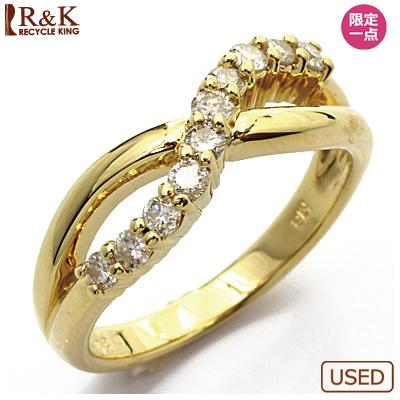 【送料無料】【中古】●K18 ダイヤモンドリング 指輪 D0.34 18金 おしゃれ レディース 女性 かわいい 可愛い オシャレ 価格見直し3005