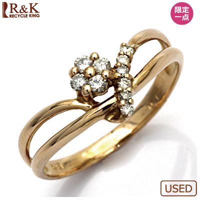 【送料無料】【中古】●K18PG ダイヤモンドリング 指輪 D0.13 花 フラワー 18金ピンクゴールドおしゃれ レディース 女性 かわいい 可愛い オシャレ 価格見直し3005