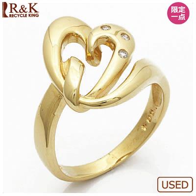 【送料無料】【中古】●K18 ダイヤモンドリング 指輪 D0.04 ハート 18金 おしゃれ レディース 女性 かわいい 可愛い オシャレ 価格見直し0711