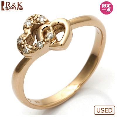 【送料無料】【中古】●K18PG ダイヤモンドリング 指輪 D0.05 ハート ピンクゴールドおしゃれ レディース 女性 かわいい 可愛い オシャレ 価格見直し3005