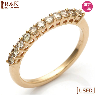 【送料無料】【中古】●K18PG ダイヤモンドリング 指輪 D0.25 ハーフエタニティ ピンクゴールド おしゃれ レディース 女性 かわいい 可愛い オシャレ 価格見直し3005