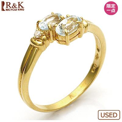 【送料無料】【中古】●K18 ダイヤモンドリング 指輪 アクアマリン 18金おしゃれ レディース 女性 かわいい 可愛い オシャレ 価格見直し3005