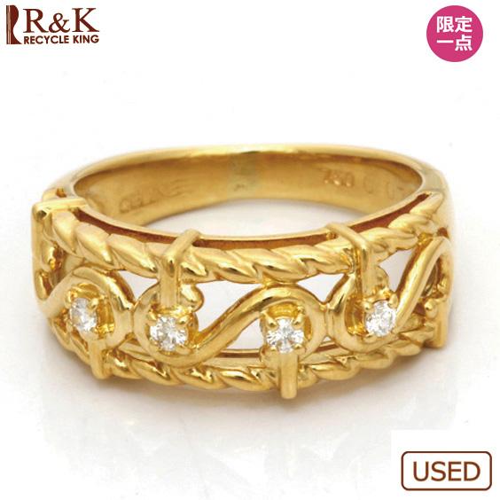 【送料無料】【中古】K18 リング 指輪 CELINE ダイヤモンド D0.07 8号 18金【BJ】おしゃれ レディース 女性 かわいい 可愛い オシャレ アクセサリー プレゼント ギフト 価格見直し0711
