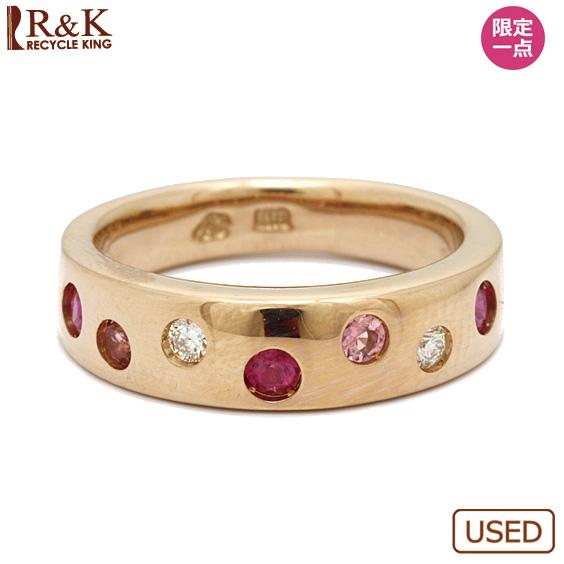 【中古】【送料無料】K18PG リング 指輪 ダイヤモンド ルビー ピンクトルマリン 6号 18金 ピンクゴールド 18K レディース 女性 おしゃれ 可愛い アクセサリー プレゼント