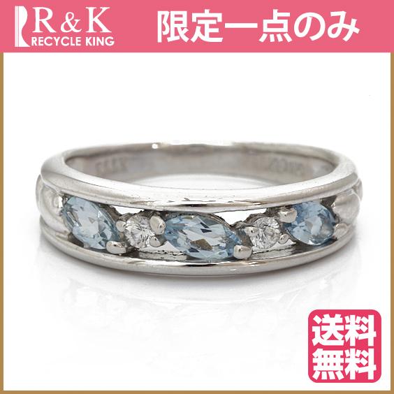 【送料無料】【中古】K18WG リング 指輪 アクアマリン ダイヤモンド 11号 18金 ホワイトゴールド 18K レディース 女性 かわいい 可愛い おしゃれ オシャレ アクセサリー プレゼント ギフト 価格見直し3005
