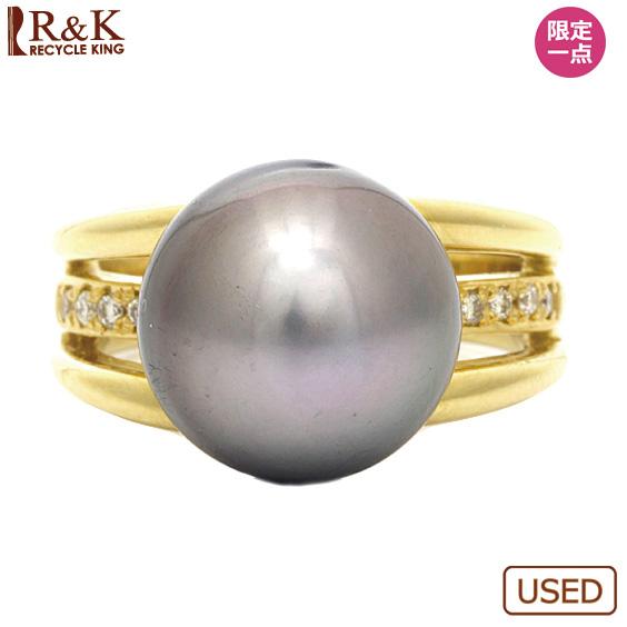 【送料無料】【中古】●K18 ダイヤモンドリング パール 12mm D0.10 10.5号 18金 ゴールド 18Kレディース女性 プレゼント おしゃれ ギフト 指輪 可愛い かわいい カワイイ 価格見直し0711