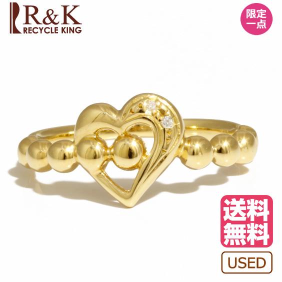 【送料無料】【中古】リング 指輪 K18 ダイヤモンド D0.01 ハート ボールアーム 11号 18金 ゴールド 18K レディース メンズ おしゃれ かわいい ギフト プレゼント 価格見直し0711