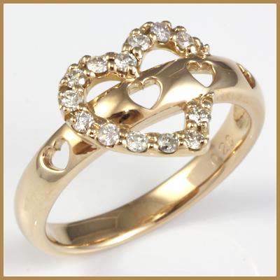 【送料無料】【中古】●K18PG ダイヤモンドリング 指輪 D0.20 ハート おしゃれ レディース 女性 かわいい 可愛い オシャレ 価格見直し3005