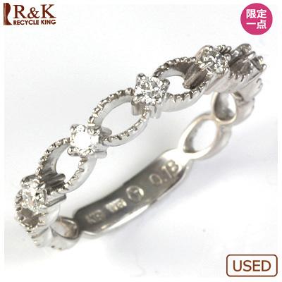 【送料無料】【中古】●K18WG ダイヤモンドリング 指輪 D0.18 おしゃれ レディース 女性 かわいい 可愛い オシャレ 価格見直し0711