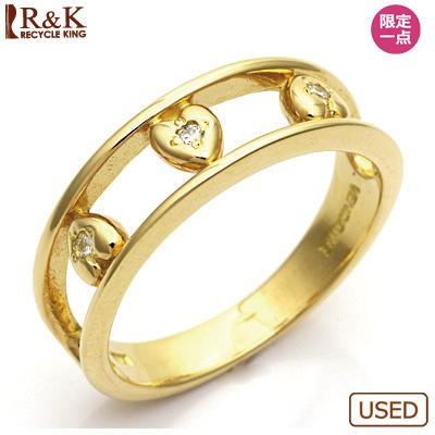 【送料無料】【中古】●K18 ダイヤモンドリング 指輪 ハート 二連風 18金 おしゃれ レディース 女性 かわいい 可愛い オシャレ 価格見直し3005