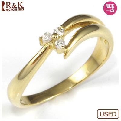 【送料無料】【中古】●K18 ダイヤモンドリング 指輪 フラワー おしゃれ レディース 女性 かわいい 可愛い オシャレ 価格見直し3005