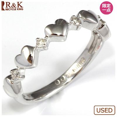 【送料無料】【中古】●K18WG ダイヤモンドリング 指輪 D0.08 ハート おしゃれ レディース 女性 かわいい 可愛い オシャレ 価格見直し0711