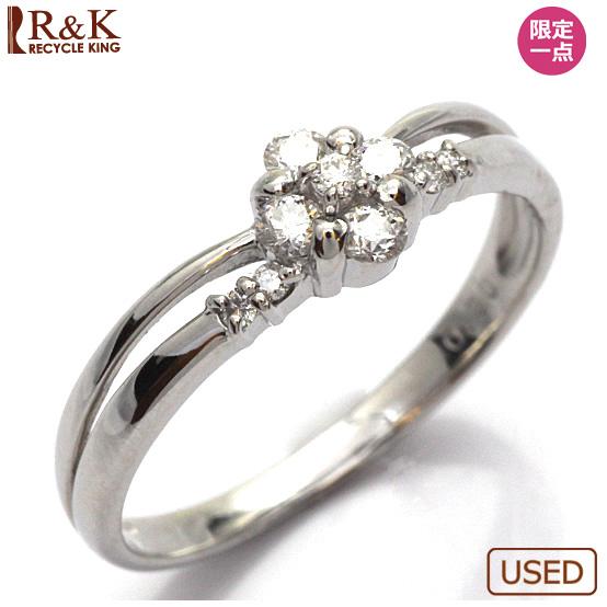 【送料無料】【中古】●K18WG ダイヤモンドリング 指輪 D0.20 花 フラワー 18金ホワイトゴールド おしゃれ レディース 女性 かわいい 可愛い オシャレ 価格見直し0711