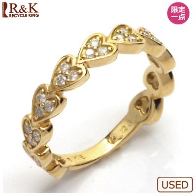 【送料無料】【中古】●K18 ダイヤモンドリング 指輪 D0.23 ハート 18金 おしゃれ レディース 女性 かわいい 可愛い オシャレ 価格見直し3005