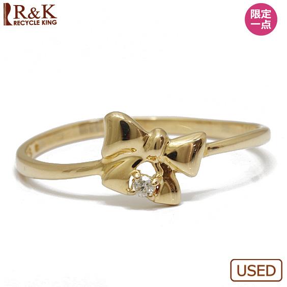 【送料無料】【中古】K18 リング 指輪 ダイヤモンド D0.014 12号 リボン 一粒 18金 ゴールド 18K レディース 女性 おしゃれ 可愛い アクセサリー プレゼント 価格見直し3005