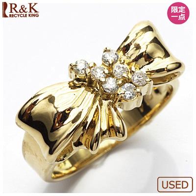 【送料無料】【中古】●K18 ダイヤモンドリング 指輪 D0.14 リボン 18金 おしゃれ レディース 女性 かわいい 可愛い オシャレ 価格見直し3005