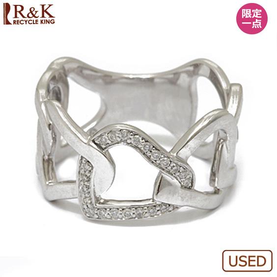 【中古】【送料無料】K18WG リング 指輪 ダイヤモンド オープンハート 15号 18金 ホワイトゴールド 18K レディース 女性 おしゃれ 可愛い アクセサリー プレゼント 価格見直し3005