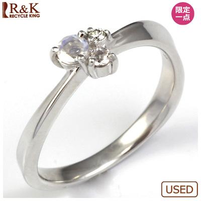 【送料無料】【中古】・K18WG リング 指輪 ムーンストーン ホワイトサファイヤ ダイヤ D0.01 おしゃれ レディース 女性 かわいい 可愛い オシャレ 価格見直し0711